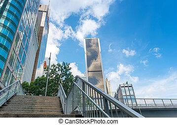 modifié tonalité, bâtiments, central, bureau, image, moderne, hong kong
