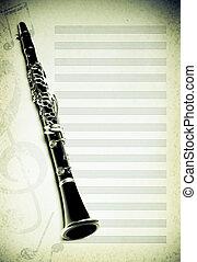 modifié tonalité, flute., musical, fond, photo