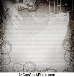 modifié tonalité, guitar., musical, fond, photo