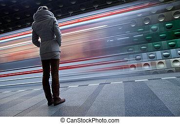 modifié tonalité, image), &, couleur, (motion, brouillé, station, métro