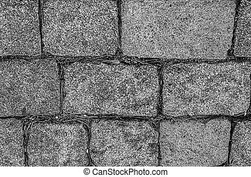 modifié tonalité, style, fond, rigide, piste, modèle, parc, site, rectangulaire, gris, bloc, base, granit, monochrome, urbain