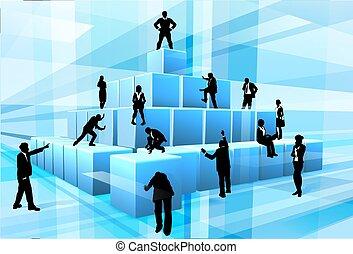modules, professionnels, équipe, silhouette