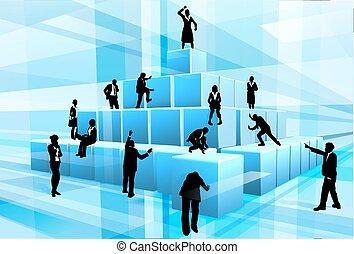 modules, professionnels, silhouettes, équipe