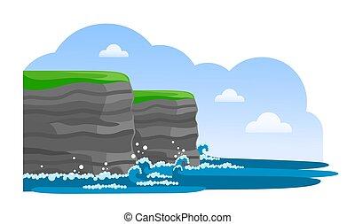 moher., ireland., attraction., falaises, voyage, irlandais
