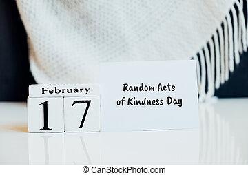 mois, calendrier, jour, hiver, gentillesse, aléatoire, actes, février