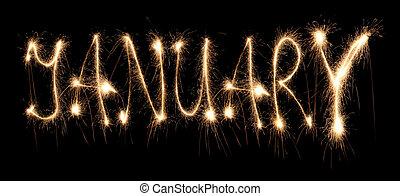 mois, janvier, sparkler