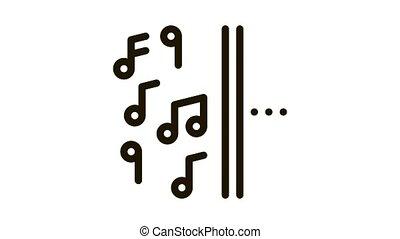 moitié, autre, musique, côté, une, icône, animation, silence