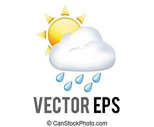 moitié, soleil jaune, couvert, nuage, vecteur, pluie, bleu, gouttes pluie, icône