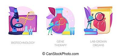 moléculaire, vecteur, concept, ingénierie, biomédical, metaphors.