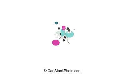 molécule, icône, flacon, structure, animation, essai