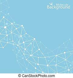 molécule, ton, vecteur, fond, communication, géométrique, illustration, design.