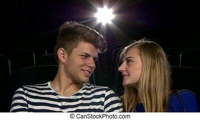 moment, couple, avoir, haut, theater., élégant, film, fin, romatic