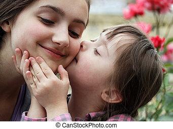 moments famille, enfant, -, avoir, mère, fun., heureux