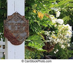 mon, jardin, accueil