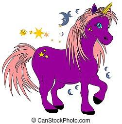 mon, licorne, violet