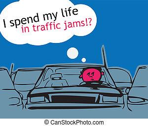 mon, vie, trafic, jam!, dépenser