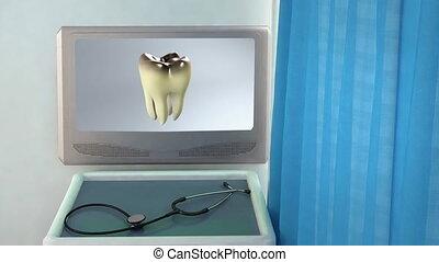 monde médical, écran, closeup, mauvais, dent