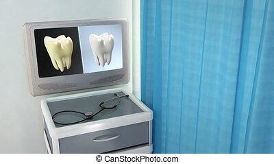 monde médical, écran, contraste, dent