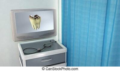 monde médical, écran, mauvais, dent