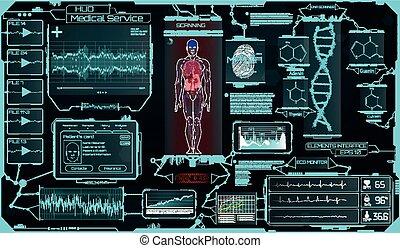 monde médical, éléments, science., interface, hud, ui