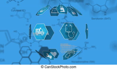 monde médical, chimique, structures, icônes