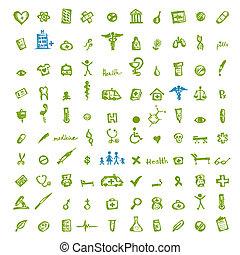 monde médical, conception, ton, icônes