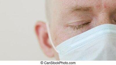monde médical, covid-19, closeup, homme, partie, protecteur, masque de protection, malade, pandemic.