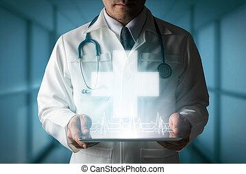 monde médical, croix, tablet., docteur, affichages, symbole
