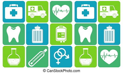monde médical, ensemble, animation, paquet, icônes