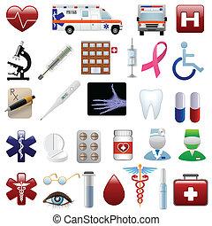 monde médical, ensemble, hôpital, icônes