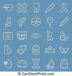 monde médical, ensemble, lignes, icônes