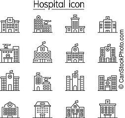 monde médical, ensemble, style, bâtiment, ligne mince, centre, icône, hôpital