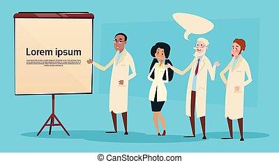 monde médical, gens, course, mélange, médecins, groupe, interne, étude, conférence, équipe