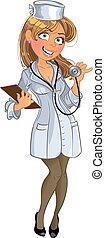 monde médical, girl, phonendoscope