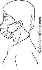 monde médical, griffonnage, main, homme, vecteur, blanc, dessiné, illustration, croquis, masque, porter, vue, fond, isolé, côté