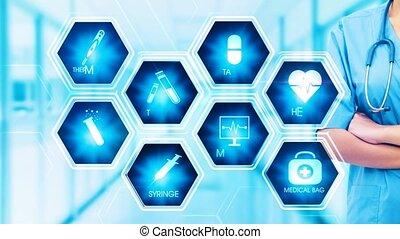 monde médical, hexagonal, toucher, concept, écran