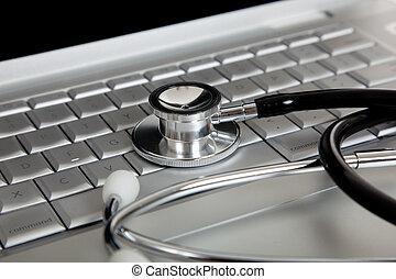 monde médical, informatique, stéthoscope, ordinateur portable