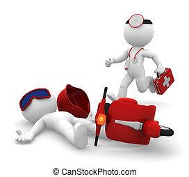 monde médical, isoler, urgence, services.