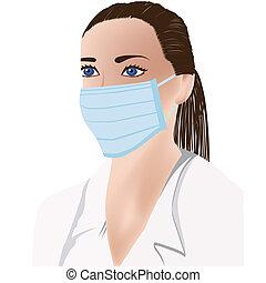 monde médical, masque, docteur féminin