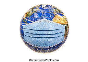 monde médical, masque, global, la terre, 3d, rendre, concept, pandémie, globe