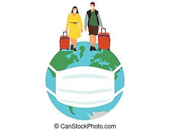 monde médical, mondiale, gens, voyage, pandemic., vecteur, illustration, masques, autour de, coronavirus, dû