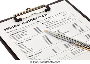 monde médical, patient, formulaire, histoire