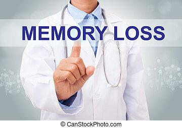 monde médical, perte, mémoire, signe, virtuel, main, screen., toucher, concept, docteur