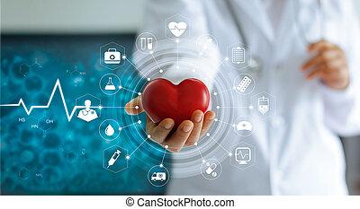 monde médical, réseau, forme, écran, médecine, technologie, laboratoire, interface, tenue, docteur, coeur, virtuel, main, rouges, icône, concept, connexion, moderne