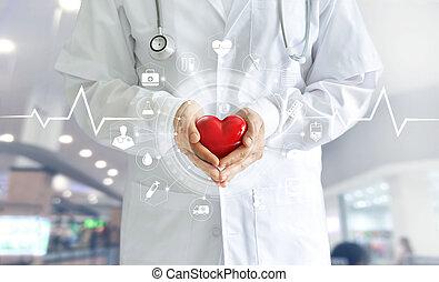 monde médical, réseau, forme, écran, médecine, technologie, tenue, docteur, interface, virtuel, coeur, main, rouges, icône, concept, connexion, moderne