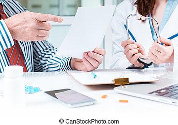 monde médical, sien, patient, bureau, docteur