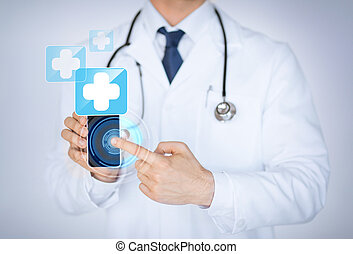 monde médical, smartphone, app, tenue, docteur