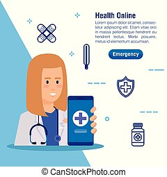monde médical, smartphone, femme, service, docteur