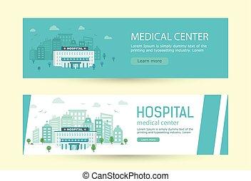 monde médical, style., bâtiment, fond, bannières, centre, plat, ville