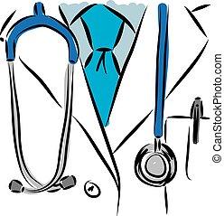 monde médical, vecteur, illustration., docteur